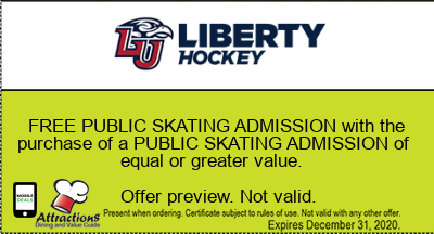 FREE PUBLIC SKATING ADMISSION with the purchase of a PUBLIC SKATING ADMISSION of equal or greater value.