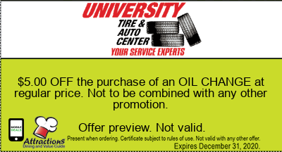 $5.00 OFF the purchase of an OIL CHANGE at regular price. Not to be combined with any other promotion.