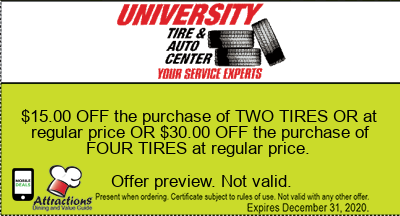 $15.00 OFF the purchase of TWO TIRES OR at regular price OR $30.00 OFF the purchase of FOUR TIRES at regular price.