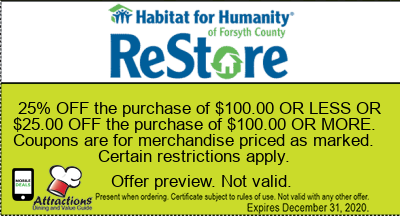 25% OFF the purchase of $100.00 OR LESS OR $25.00 OFF the purchase of $100.00 OR MORE. Coupons are for merchandise priced as marked. Certain restrictions apply.