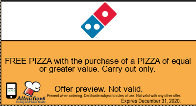 FREE PIZZA with the purchase of a PIZZA of equal or greater value. Carry out only.