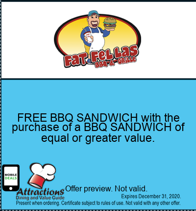 FREE BBQ SANDWICH with the purchase of a BBQ SANDWICH of equal or greater value.
