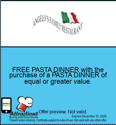 FREE PASTA DINNER with the purchase of a PASTA DINNER of equal or greater value.