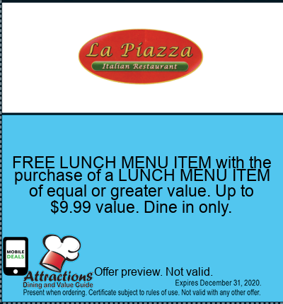 FREE LUNCH MENU ITEM with the purchase of a LUNCH MENU ITEM of equal or greater value. Up to $9.99 value. Dine in only.