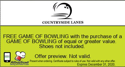 FREE GAME OF BOWLING with the purchase of a GAME OF BOWLING of equal or greater value. Shoes not included.