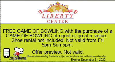 FREE GAME OF BOWLING with the purchase of a GAME OF BOWLING of equal or greater value. Shoe rental not included. Not valid from Fri 5pm-Sun 5pm.