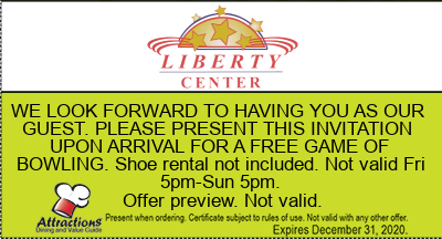 WE LOOK FORWARD TO HAVING YOU AS OUR GUEST. PLEASE PRESENT THIS INVITATION UPON ARRIVAL FOR A FREE GAME OF BOWLING. Shoe rental not included. Not valid Fri 5pm-Sun 5pm.