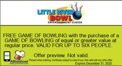 FREE GAME OF BOWLING with the purchase of a GAME OF BOWLING of equal or greater value at regular price. VALID FOR UP TO SIX PEOPLE.