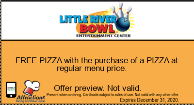 FREE PIZZA with the purchase of a PIZZA at regular menu price.