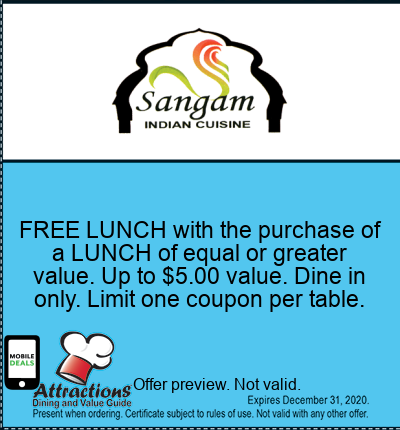 FREE LUNCH with the purchase of a LUNCH of equal or greater value. Up to $5.00 value. Dine in only. Limit one coupon per table.