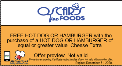 FREE HOT DOG OR HAMBURGER with the purchase of a HOT DOG OR HAMBURGER of equal or greater value. Cheese Extra.