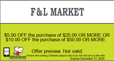 $5.00 OFF the purchase of $25.00 OR MORE OR $10.00 OFF the purchase of $50.00 OR MORE.