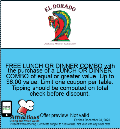 FREE LUNCH OR DINNER COMBO with the purchase of a LUNCH OR DINNER COMBO of equal or greater value. Up to $6.00 value. Limit one coupon per table. Tipping should be computed on total check before discount.