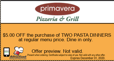 $5.00 OFF the purchase of TWO PASTA DINNERS at regular menu price. Dine in only.