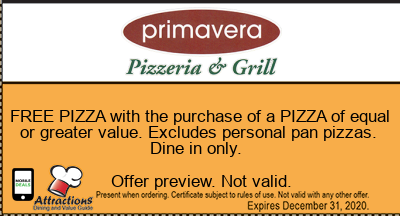 FREE PIZZA with the purchase of a PIZZA of equal or greater value. Excludes personal pan pizzas. Dine in only.