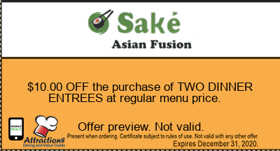 $10.00 OFF the purchase of TWO DINNER ENTREES at regular menu price.