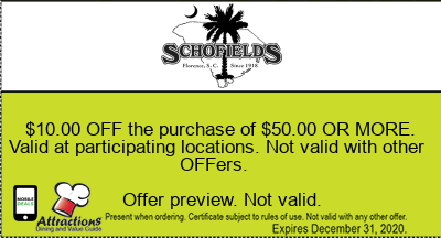$10.00 OFF the purchase of $50.00 OR MORE. Valid at participating locations. Not valid with other offers.
