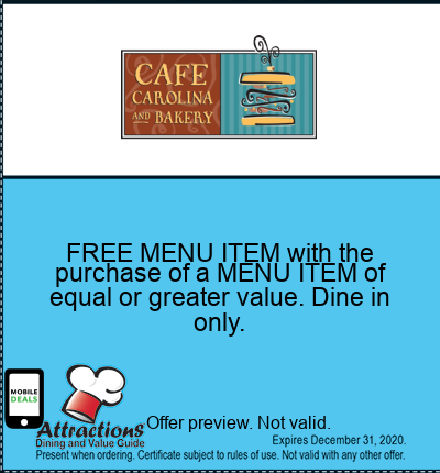 FREE MENU ITEM with the purchase of a MENU ITEM of equal or greater value. Dine in only.
