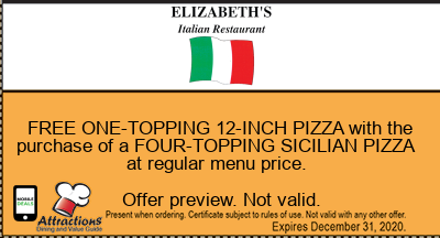 FREE ONE-TOPPING 12-INCH PIZZA with the purchase of a FOUR-TOPPING SICILIAN PIZZA at regular menu price.