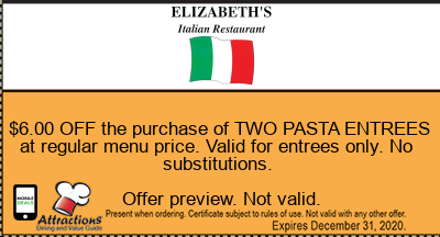 $6.00 OFF the purchase of TWO PASTA ENTREES at regular menu price. Valid for entrees only. No substitutions.
