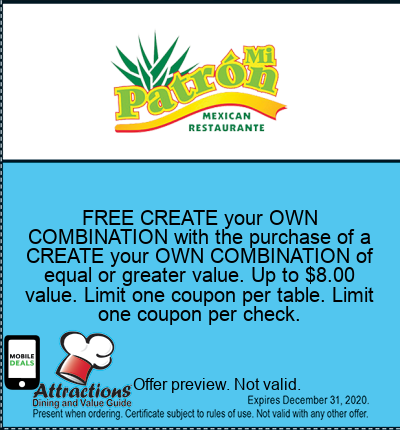 FREE CREATE your OWN COMBINATION with the purchase of a CREATE your OWN COMBINATION of equal or greater value. Up to $8.00 value. Limit one coupon per table. Limit one coupon per check.