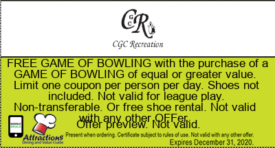 FREE GAME OF BOWLING with the purchase of a GAME OF BOWLING of equal or greater value. Limit one coupon per person per day. Shoes not included. Not valid for league play. Non-transferable. Or free shoe rental. Not valid with any other offer.