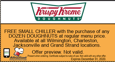 FREE SMALL CHILLER with the purchase of any DOZEN DOUGHNUTS at regular menu price. Available at all Wilmington, Charleston, Jacksonville and Grand Strand locations.