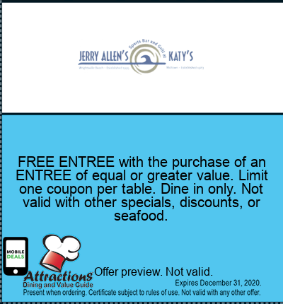 FREE ENTREE with the purchase of an ENTREE of equal or greater value. Limit one coupon per table. Dine in only. Not valid with other specials, discounts, or seafood.