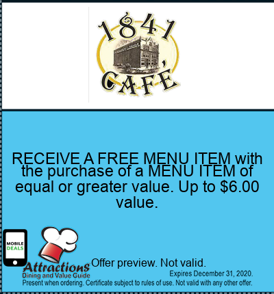 RECEIVE A FREE MENU ITEM with the purchase of a MENU ITEM of equal or greater value. Up to $6.00 value.