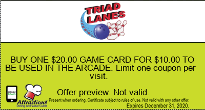 BUY ONE $20.00 GAME CARD FOR $10.00 TO BE USED IN THE ARCADE. Limit one coupon per visit.