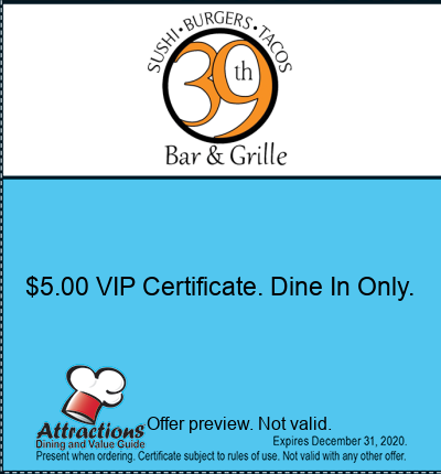 $5.00 VIP Certificate. Dine In Only.