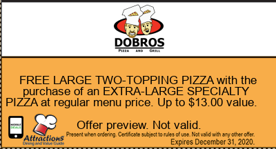 FREE LARGE TWO-TOPPING PIZZA with the purchase of an EXTRA-LARGE SPECIALTY PIZZA at regular menu price. Up to $13.00 value.