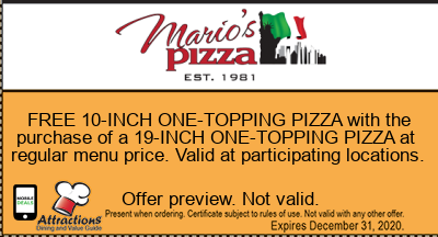 FREE 10-INCH ONE-TOPPING PIZZA with the purchase of a 19-INCH ONE-TOPPING PIZZA at regular menu price. Valid at participating locations.