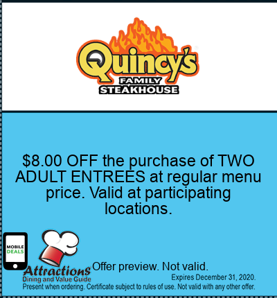 $8.00 OFF the purchase of TWO ADULT ENTREES at regular menu price. Valid at participating locations.