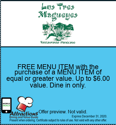 FREE MENU ITEM with the purchase of a MENU ITEM of equal or greater value. Up to $6.00 value. Dine in only.
