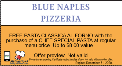 FREE PASTA CLASSICA AL FORNO with the purchase of a CHEF SPECIAL PASTA at regular menu price. Up to $8.00 value.