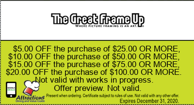 coupons from the great frame up 500 off the purchase of 2500 or more 1000 off the purchase of 5000 or