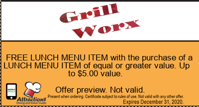 FREE LUNCH MENU ITEM with the purchase of a LUNCH MENU ITEM of equal or greater value. Up to $5.00 value.