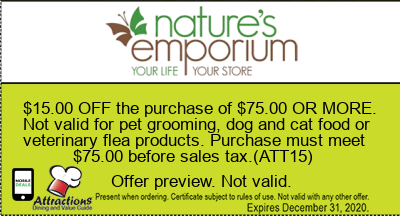 $15.00 OFF the purchase of $75.00 OR MORE. Not valid for pet grooming, dog and cat food or veterinary flea products. Purchase must meet $75.00 before sales tax.(ATT15)