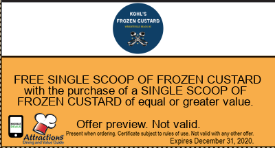 FREE SINGLE SCOOP OF FROZEN CUSTARD with the purchase of a SINGLE SCOOP OF FROZEN CUSTARD of equal or greater value.