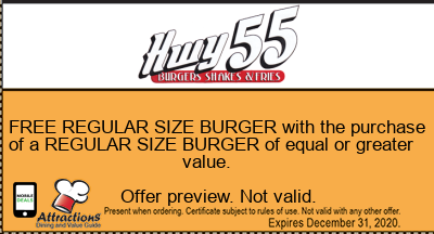 FREE REGULAR SIZE BURGER with the purchase of a REGULAR SIZE BURGER of equal or greater value.