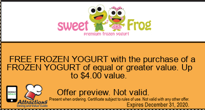 FREE FROZEN YOGURT with the purchase of a FROZEN YOGURT of equal or greater value. Up to $4.00 value.