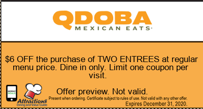 $6 OFF the purchase of TWO ENTREES at regular menu price. Dine in only. Limit one coupon per visit.