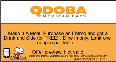 Make It A Meal!  Purchase an Entree and get a Drink and Side for FREE! . Dine in only. Limit one coupon per table.