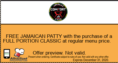 FREE JAMAICAN PATTY with the purchase of a FULL PORTION CLASSIC at regular menu price.