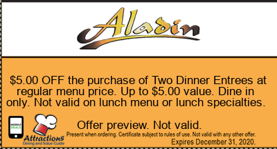 $5.00 OFF the purchase of Two Dinner Entrees at regular menu price. Up to $5.00 value. Dine in only. Not valid on lunch menu or lunch specialties.