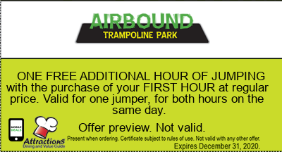 ONE FREE ADDITIONAL HOUR OF JUMPING with the purchase of your FIRST HOUR at regular price. Valid for one jumper, for both hours on the same day.