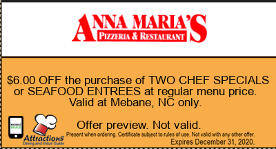 $6.00 OFF the purchase of TWO CHEF SPECIALS or SEAFOOD ENTREES at regular menu price. Valid at Mebane, NC only.